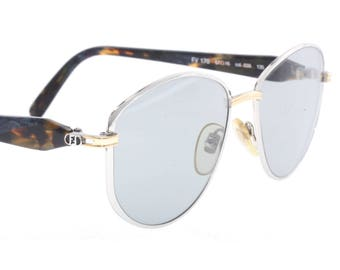 4aaf1e35c21 Fendi vintage oversize silver metal sunglasses with golden embossed details  and multicolour marble temples made in Italy by Lozza