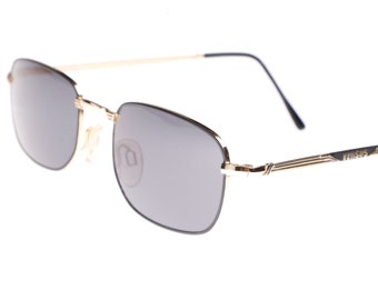 ae60611d46 Versus Versace E75 thin square black gold sunglasses made in Italy