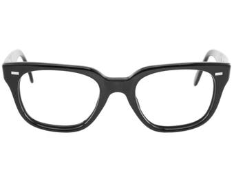 359ad2a81b2 1950s geek square black eyeglasses frames hand made in Italy by Safilo