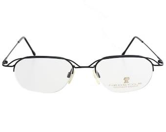 c2580960ea Neostyle 90s modernist avant garde eyeglasses ultraslim black enamelled  metal frames half rimmed with double brows made in Germany NOS 1990s