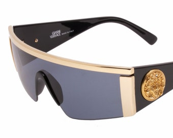 40058b6695191 Gianni Versace mod. 599 wrap   shield golden medusa vintage mask sunglasses  hand made in Italy