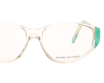f37c2b438c1 Pierre Balmain transparent cateye frames with sea green striped temples and  sides, NOS 1980s