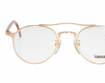 a65acee7555 Kansai Yamamoto hype adorned vintage round aviator eyeglasses - sunglasses  frames in gold or silver