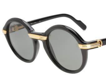 70109ff7f9f Cartier Cabriolet NOS C Decor collectable round black cello  gold    platinum plated metal sunglasses hand made in France in the 90s