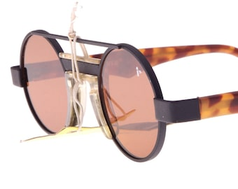 9af42d2baa310 Levi s by Bausch   Lomb vintage 80s hip round steampunk dbl bridge  sunglasses with crystal lenses