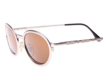 c6be40cd686 Moschino By Persol Ratti Vintage 80s Neat Oval Silver Metal Sunglasses