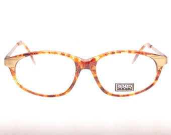 6b41a34c01eab Stunning Kenzo Paris new old stock cat eye spectacle frames in adorned  golden metal and cello