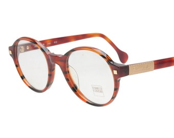 3ef4691f61a5 Enrico Coveri red havana round thick celluloid eyeglasses frames hand made  in Italy