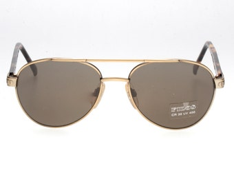1b892c91c24e Filos vintage antique brass double bridge aviator sunglasses with dark  havana cello temples