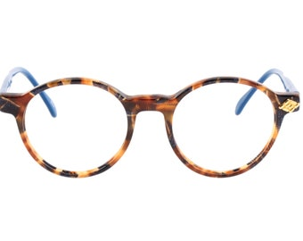8864a02f2c8 Vintage no-brand 80s hand made round pantos eyeglasses frames in  translucent tortoise cello with black brushed effect and blue temples