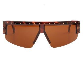 c93d9a22d64 Gianni Versace 393 vintage tortoise shield - wrap - mask sunglasses with  golden studs allover
