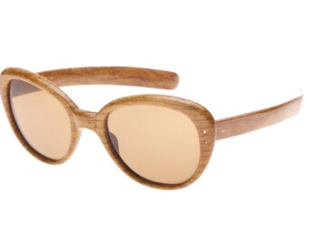07035b38bc43 Fioc authentic 1960s deadstock Jackie O. oversized wooden effect ladies  vintage sunglasses with brown crystal lenses