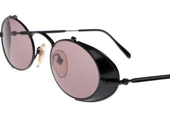 1004ccad30b8b Jean Paul Gaultier 56-1175 black oval side shield sunglasses