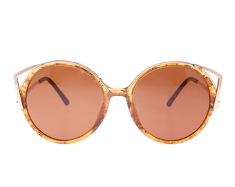ab99bb87817 Christian Dior 2554 sz 54 round Cat eye Golden amber vintage sunglasses