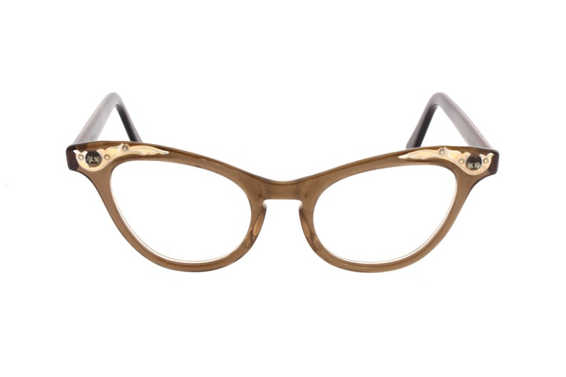 0a24ae8da7 1950s translucent brown cello cateye eyeglasses frames custom