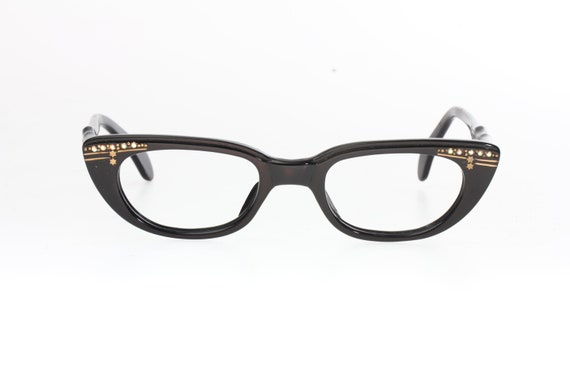 025e113942 Authentic vintage 50s cateye pin-up eyeglasses black cello