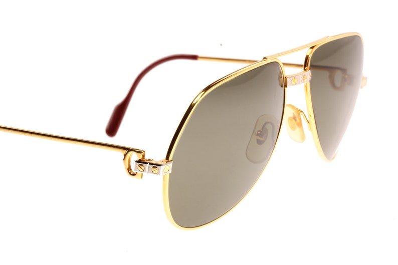 b1d67e35e8d Cartier Santos Vendome vintage 1980 golden aviator sunglasses