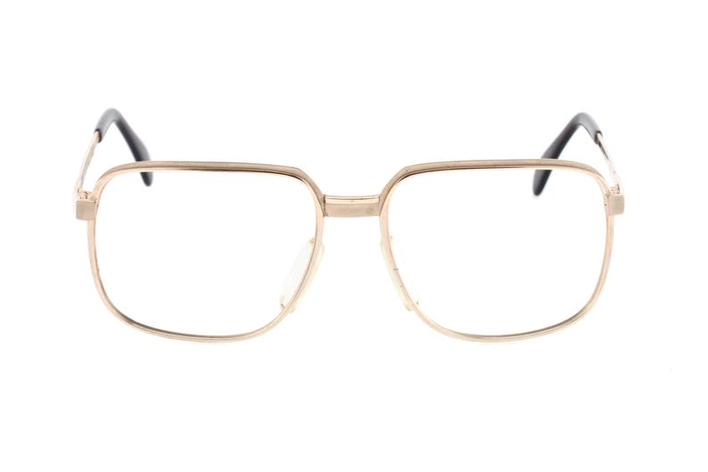8894596460 1970s Metzler 7810 square gold glasses gold plated metal
