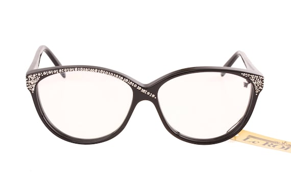 6d1ae3007f Le Roi vintage cateye eyeglasses frames black cello adorned