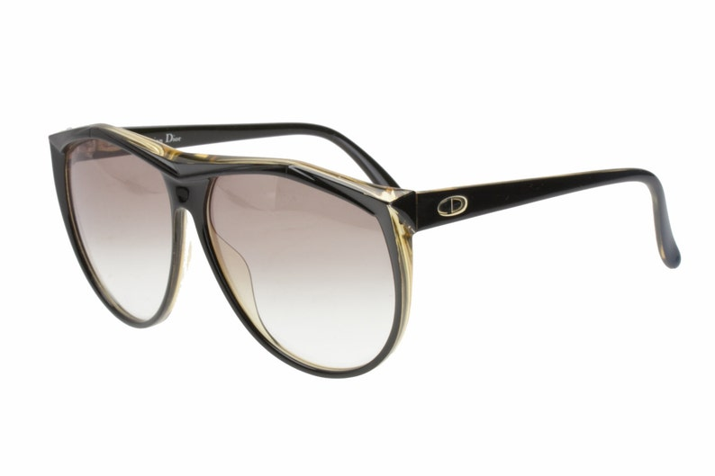 fc5193f3d487 Christian Dior 2231 oversized drop shaped black amber Optyl