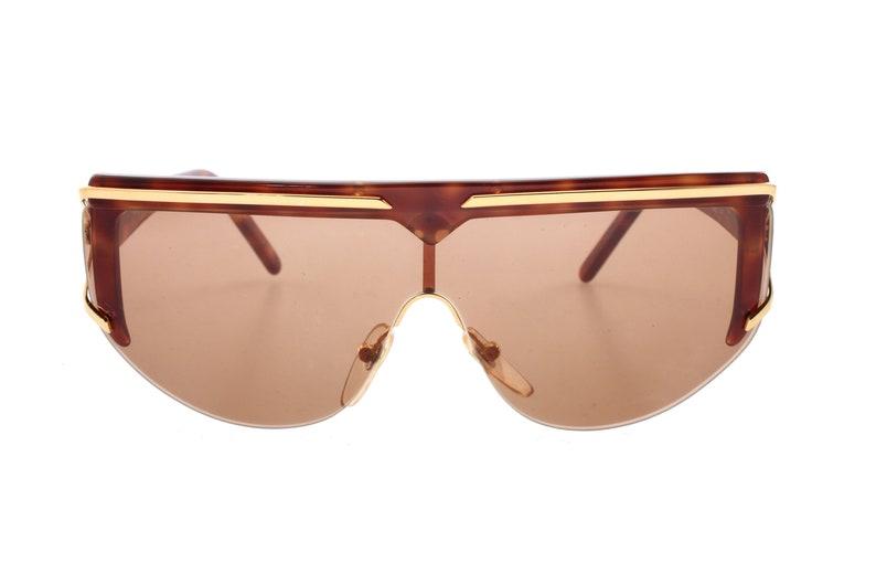ba4ecaf507b1 Valentino V568 80s shield wrap oversized sunglasses tortoise