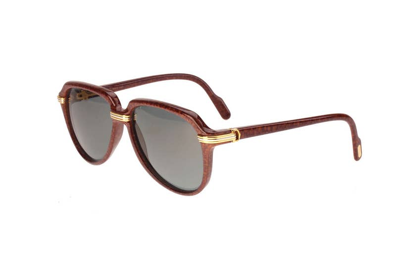 347bb8fa4c Must de Cartier Vitesse briar root effect cello aviators with gold    platinum C Decor plated details