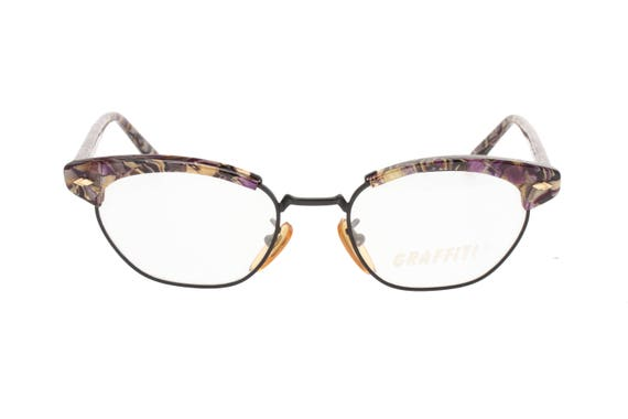 cae7c6fb01 Vintage Graffiti 80s cateye eyeglasses cool avant-garde black