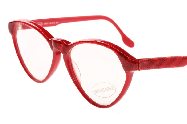 55a8ec759fb6b6 Missoni red cateye eyeglasses frames with real knitted fabric