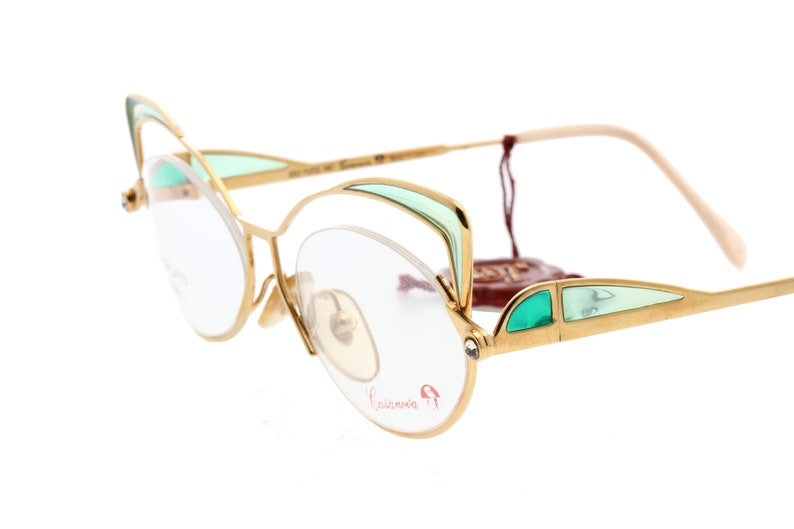 0d456198db Casanova 80s 24k golden plated cateye eyeglasses luxury ladies frames with  stained glass-like translucent cello decorations