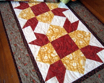 Orange, Yellow and Tan Autumn Quilted Table Runner