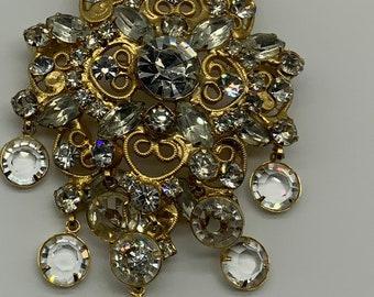 Gold Glam Faux Rhinestone Brooch