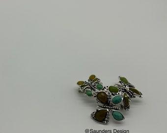 Monet Vintage Triple Butterfly Brooch