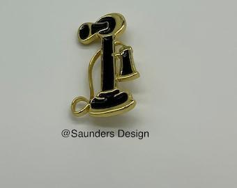 Telephone Brooch Pin