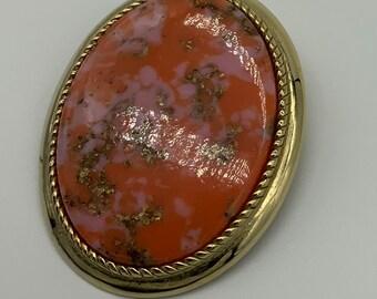 Sarah Cov vintage Orange Glitter Brooch Pin