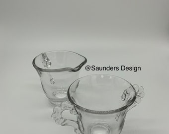 Clear Glass Candle Wick sugar bowl and creamer