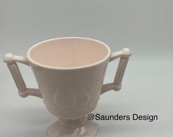 Jeanette Vintage  Pink Pear Design Milk Glass Footed Open Sugar Bowl