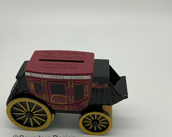 Stage Coach Metal  Diecast Coin Bank with key