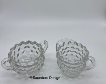 Diamond Square Cut Glass Sugar Bowl with Creamer