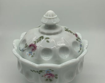 Hand painted Westmoreland Milk Glass Candy Dish