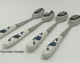Four Porcelain Handle Gilt Blue Poppy 18 10 Stainless Spoon