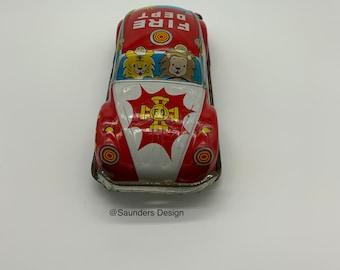 Tin Friction Toy Fire Dept Tin Car