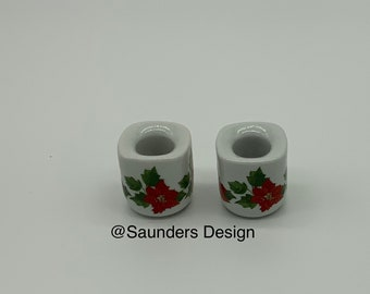 Vintage Funny Design poinsettia porcelain W Germany candle holders
