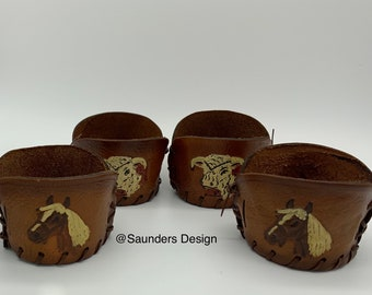 Four leather Drink holders Western style horse and steer