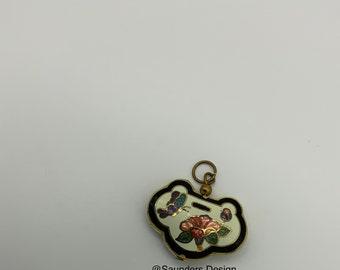 Cloisonné Butterfly Flower Pendant