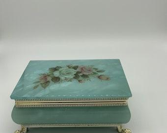 Alabaster Footed Floral Trinket box