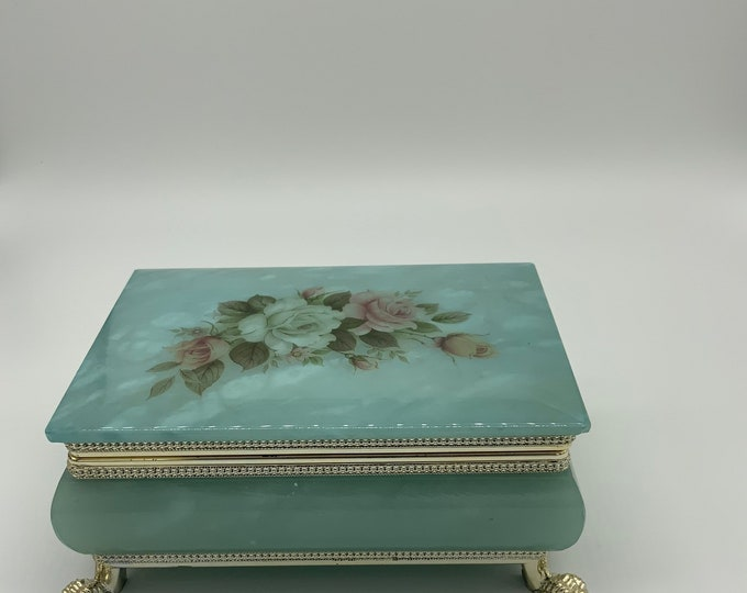 Featured listing image: Alabaster Footed Floral Trinket box