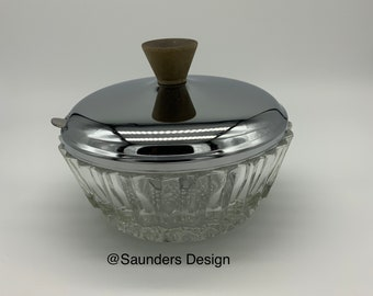 Clear vintage pressed glass sugar dish with metal lid