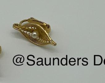 Sarah Cov leaf faux pear clip on earrings