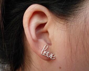 Silver Wire Love Earring Cartilage Earring Ear Cuff Cartilage Stud Word Stud Cursive Word Earring