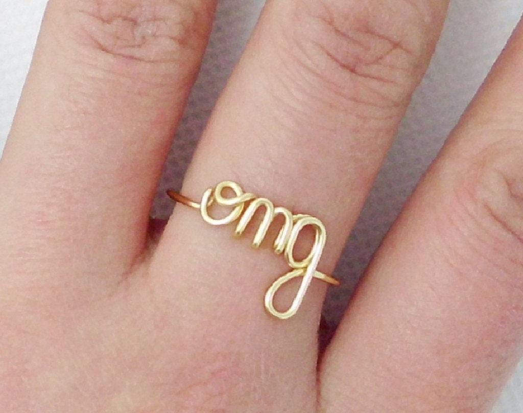 OMG RingWire ringPersonalized RingCustom ringName | Etsy